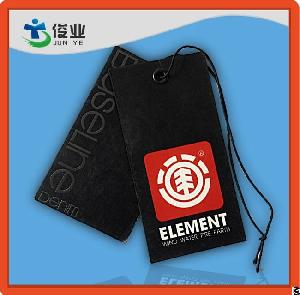 Black And Red Garment Custom Hangtags With String Denim