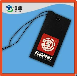 Black And Red Garment Custom Hangtags With String Fire
