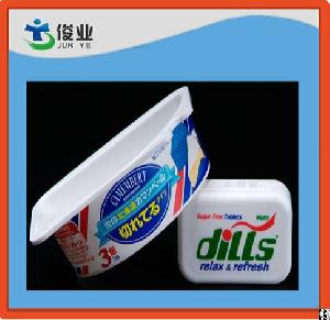 injection moulding plastic adhesive sticker shiny labelling