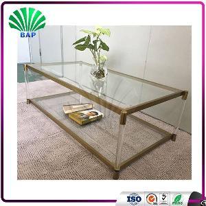 living room corner mirrored console table plexiglass coffee metal legs