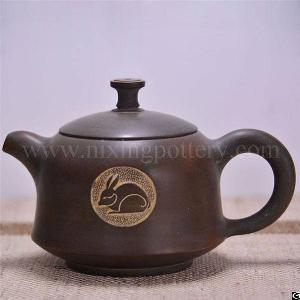pure hand carving tea pots clay teapot rabbit teapots