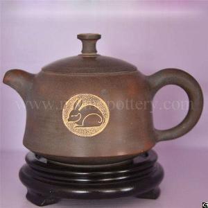 vintage tea pot hand painted nixing cermaic animal rabbit teapots ware