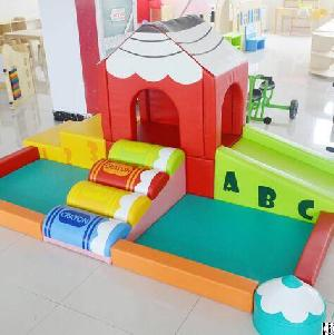 ylw customized software kids soft toy baby indoor playground pool game slide climber