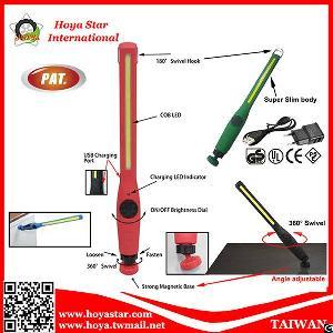 ultra slim led cob swivel light auto home repair portable magnetic torch