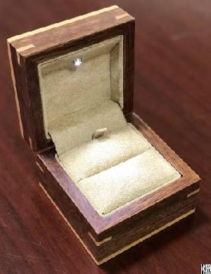 Wooden Ring Box With Led Light And Fabric