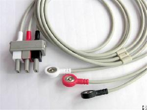 3 leads ecg cable snap electrode