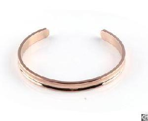 Grooved Cuff Bangles Coated Rose Gold For Girl Fashion Inner Circumference 65mm