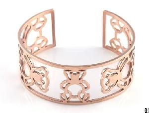 Imitation Jewelry Charm Stainless Steel Cuff Bangles Rose Gold Decorated Hollowed With Bear Image
