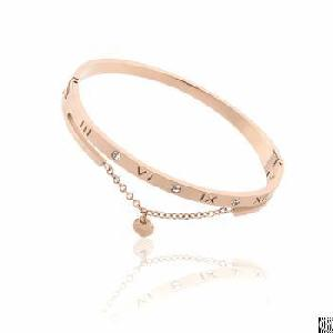 New Fashion Curb Chain Twisted Girl Rose Gold Bangle Bracelet With Square Black Enamel Closure