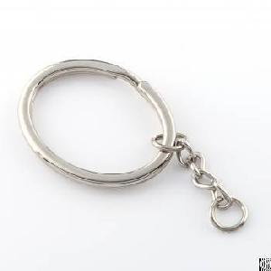 nickel plated oval shape split keychain ring holder key organization
