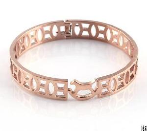 shinny bright polished rose gold bangle charm cuff birthday gift