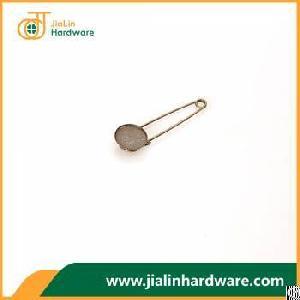 vintage iron blank circle bezel cabochon base diy hijab brooch safety pins 70mm 1 5mm