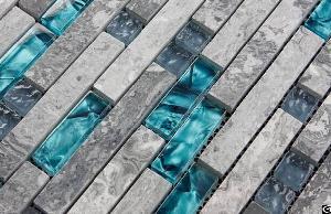 gray marble backsplash tiles sea glass blue wave patterns stone bathroom wall mosaic