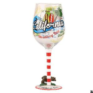 hand painted tourist souvenir gift wine glass