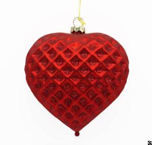 Jeweled Facet Blown Christmas Glass Heart Shape Ornament Tree Ball Wholesale