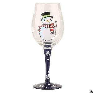 promotional themed christmas snowman wine glass