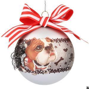 ribbon glass tree ball ornament dog