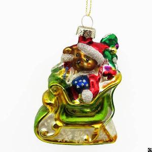 santa bear glass figurine painting christmas decoration hanging ornament