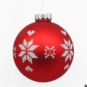White Snowflake Red Glass Tree Ornament Glass Round Ball