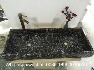 fossil seashell marble console sink sanitary ware basin bathroom vessel