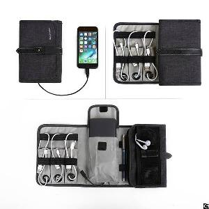 compact travel cable organizer portable electronics bag hard drive case usb charger
