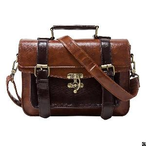 Retro Women Faux Leather Satchel Purse Small School Crossbody Messenger Pu College Bags