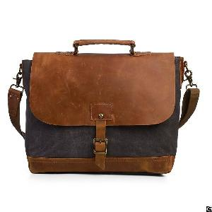 Vintage Canvas Messenger 15.6 Inch Laptop Briefcase College Bag Business Shoulder Strap Handbag
