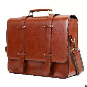 Vintage Faux Leather Handbag Messenger Bag Briefcase Satchel Purse