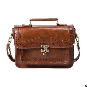 vintage girl faux leather satchel purse school crossbody messenger bag hollowed