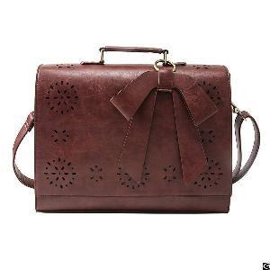 Vintage Ladies Pu Leather Laptop Bag Briefcase Crossbody Messenger Satchel Purse
