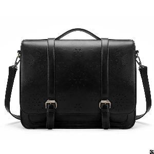 vintage womens briefcase pu leather laptop backpack hollowed messenger satchel