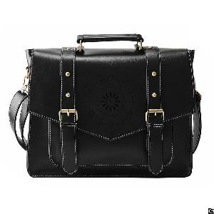 women pu leather tote messenger bag crossbody briefcase