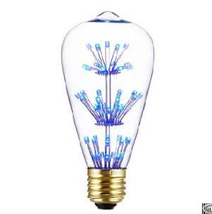 st64 vintage blue light led fireworks bulb