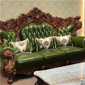 green leather solid wood sofa