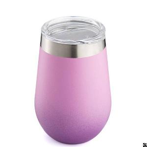 Kingstar S411202 Vacuum Insulated Double Wall Stainless Steel Wine Cup With Clear Tritan Lid