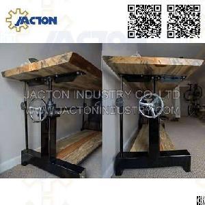 industrial crank dining table base manual acme worm gear screw jack lift handwheel