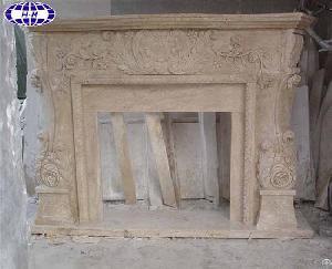 carved travertine stone fireplace