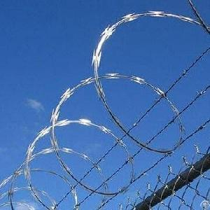 flat wrap razor wires barbed installed chain link fencing