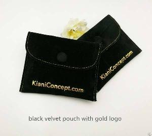 Black Velvet Jewelry Snap Pouch