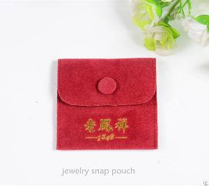 Velvet Jewelry Pouch With Flap Button
