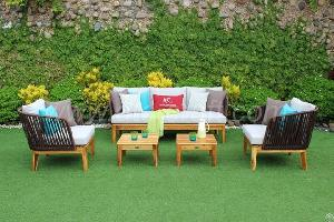 Wooden Wicker Outdoor Sofa Set Rasf-111 Style 3