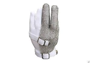 Stainless Steel Mesh Three Finger Safety Work Gloves / Smg-002