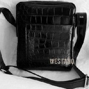Genuine Crocodile Leather Cross Bag Black Alligator Shoulder Bag For Men Belly Crocodile Skin .