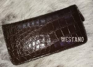 Genuine Crocodile Leather Zip Wallet Dark Brown One Zip Purse Belly Crocodile Skin Clutch Wallet