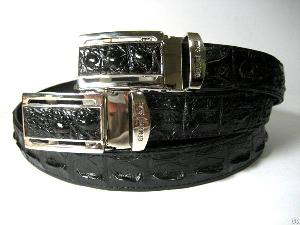 Genuine Hornback Crocodile Leather Belt For Men Black Mens Crocodile Skin Belt 45-47 Inches Long