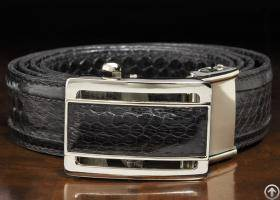 Genuine Seasnake Skin Lether Belt For Men Black Mens Snake Skin Leather Belt Automatic Buckle