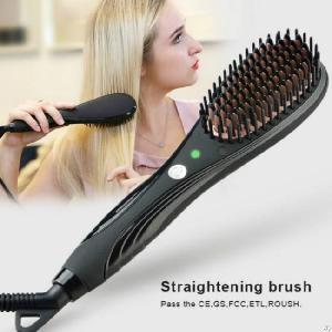 Ptc Fast Heating Element Electric Hair Straightener With Temperature Control Brush That Straightens