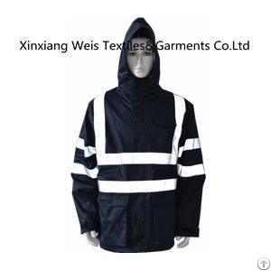 Protective Navy Blue Flame Retardant Jacket With Reflective Tape And Hood