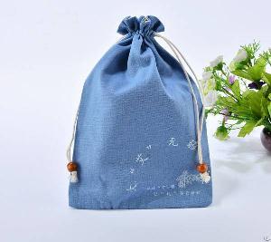 cotton drawstring gift bag vintage beads