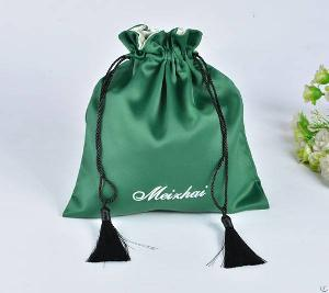 satin gift bag tassels embroidery logo